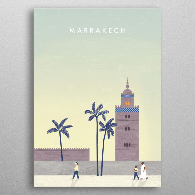 Illustration of Marrakech metal poster