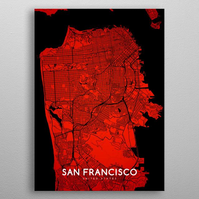 San Francisco map metal poster
