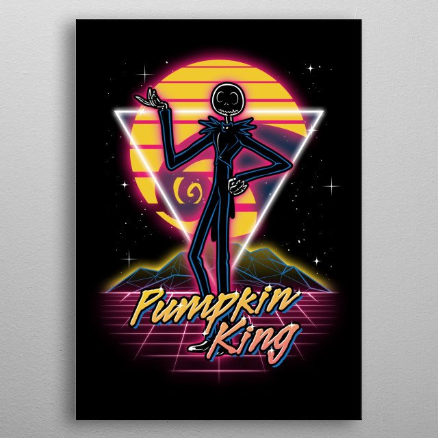 Pumpkin King retro style from the 80s. metal poster