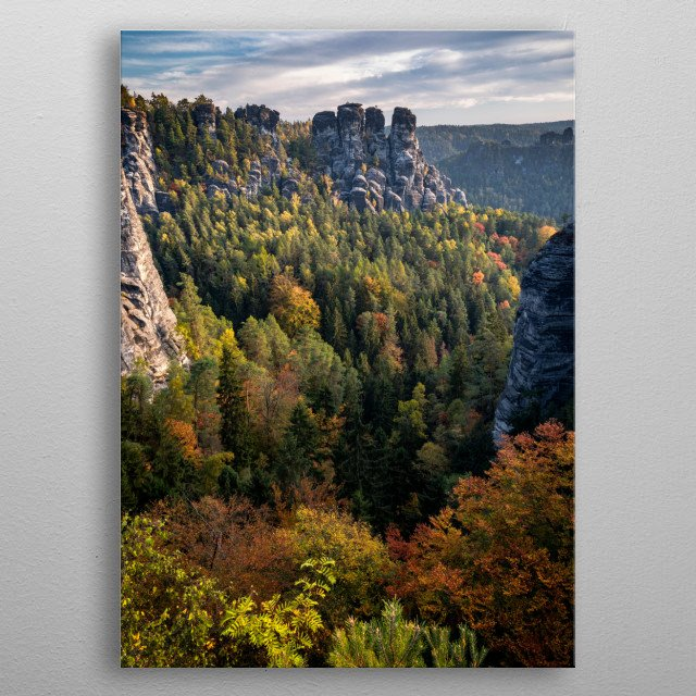 Saxon Switzerland seen from the Bastei Bridge. Most beautiful sandstone mountains in Germany. metal poster