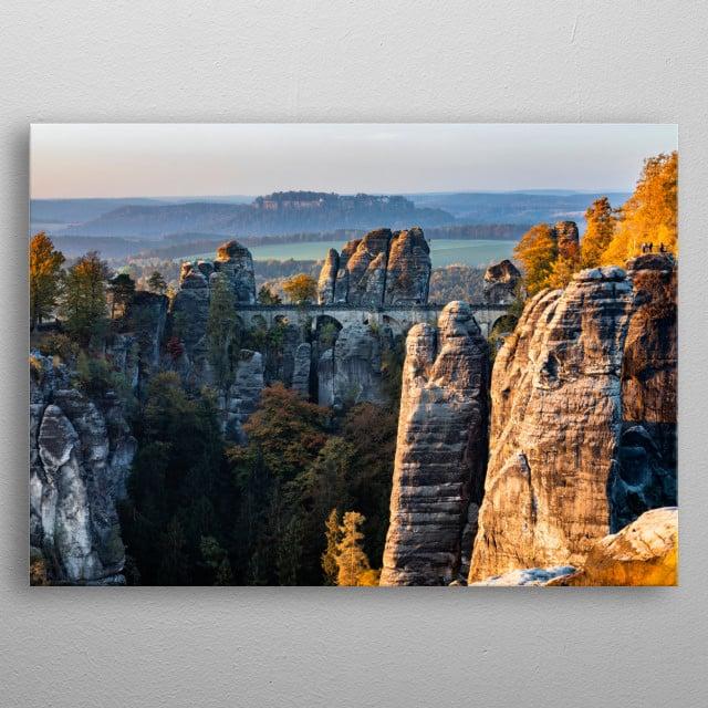 The Bastei Bridge in Saxon Switzerland. Early morning photo in autumn.  metal poster