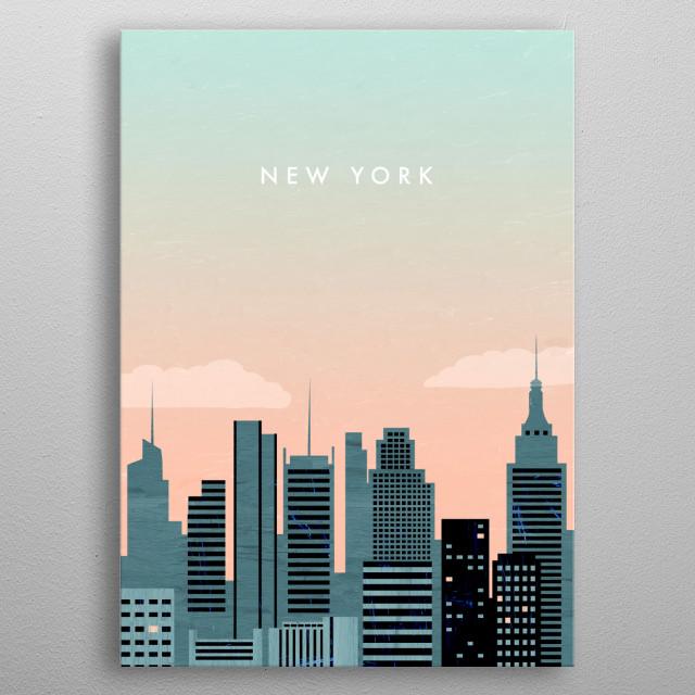 Illustration of New York metal poster
