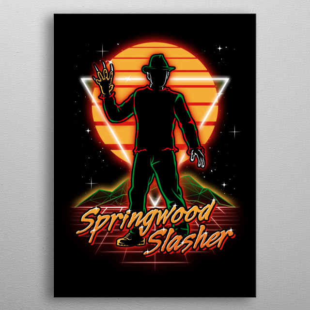 The Springwood slasher retro style from the 80s. metal poster