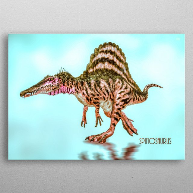Spinosaurus is a genus of theropod dinosaur that lived in what now is North Africa,  Art by Bob Orsillo metal poster