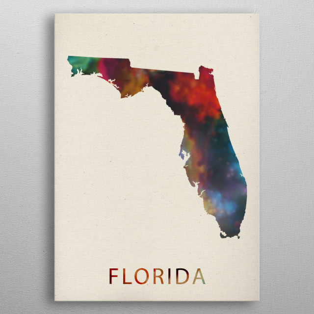 Florida Watercolor Map By Design Turnpike Metal Posters Displate