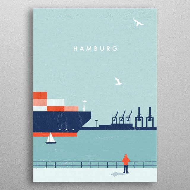 Illustration of Hamburg metal poster