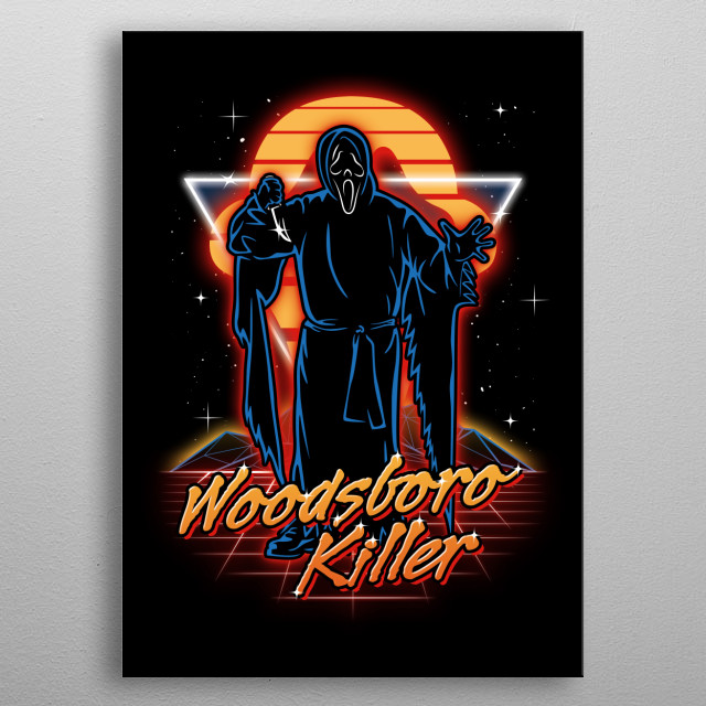 The Woodsboro killer retro style from the 80s. metal poster