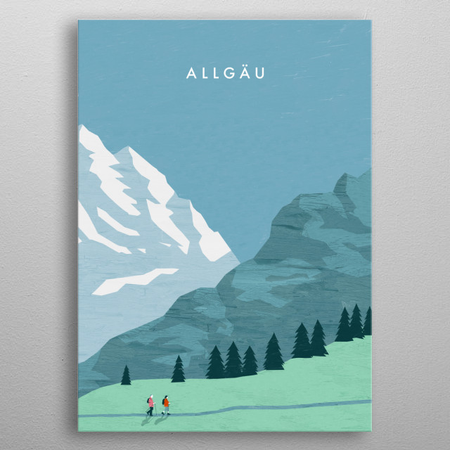Illustration of mountains in south Germany metal poster