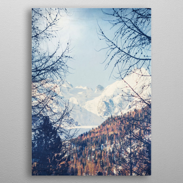 View of the snow covered Swiss Alps metal poster