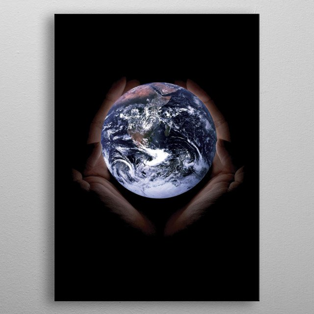 Holding the world Photo Manipulation metal poster