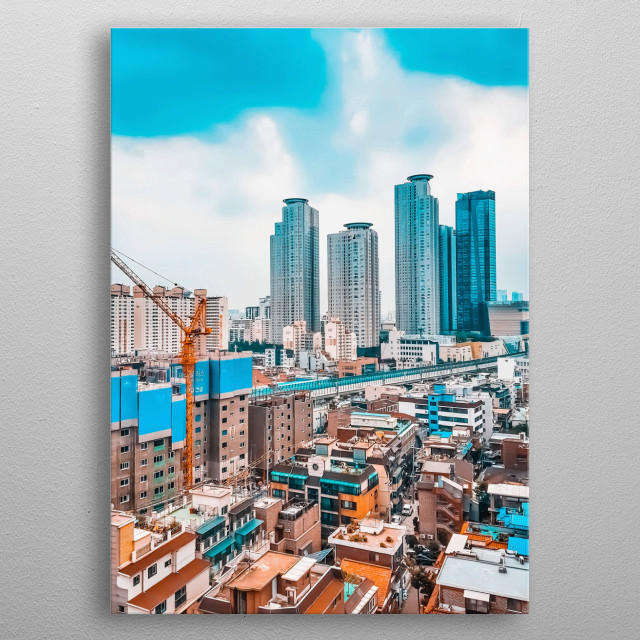 A popular urban district in Seoul, South Korea. You can see the Line 2 metro passing through in the middle of the picture. metal poster