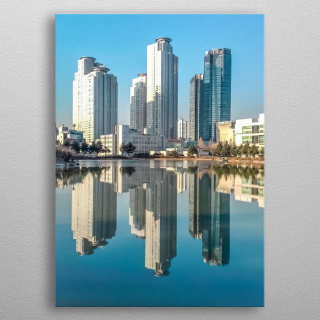 3 skyscrapers in Seoul, Korea: against the lake in Konkuk University. The calm water creates a perfect symmetry and a mirror-like reflection metal poster