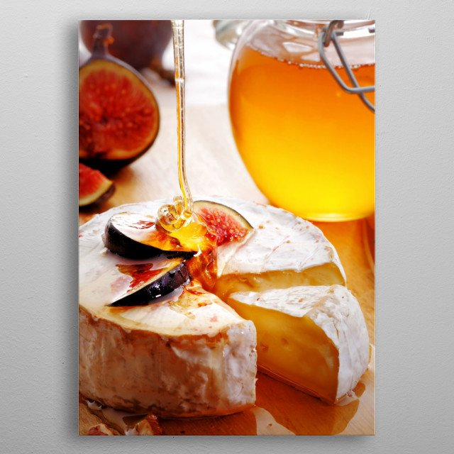 Brie Cheese and sliced Figs poured with honey on wood cheese-board metal poster
