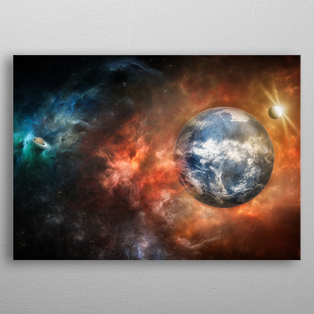The lights of our universe. The orange nebula and the blue one give us an idea of its infinite metal poster