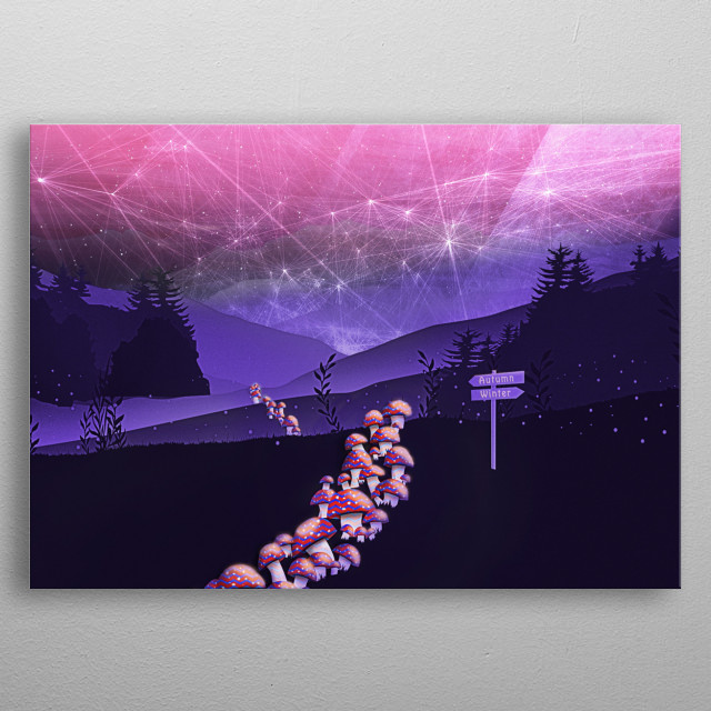 Magic mushrooms (fly agaric) on their way to the autumn season. It is a long way but they enjoy the starry night and dreamy pink atmosphere. metal poster