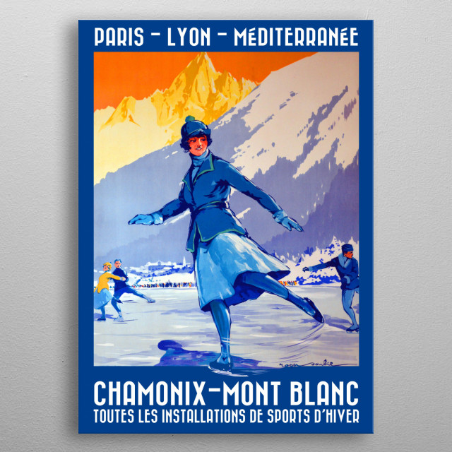 Restored vintage Olympics promotional poster in French metal poster