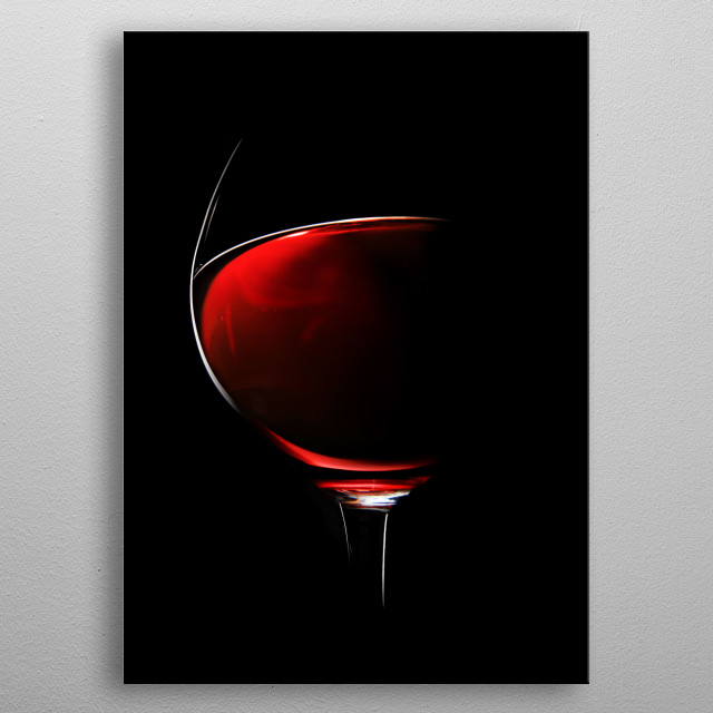 One Glass of Red Wine photographed with rim light against black background (focus on edge of glass) metal poster