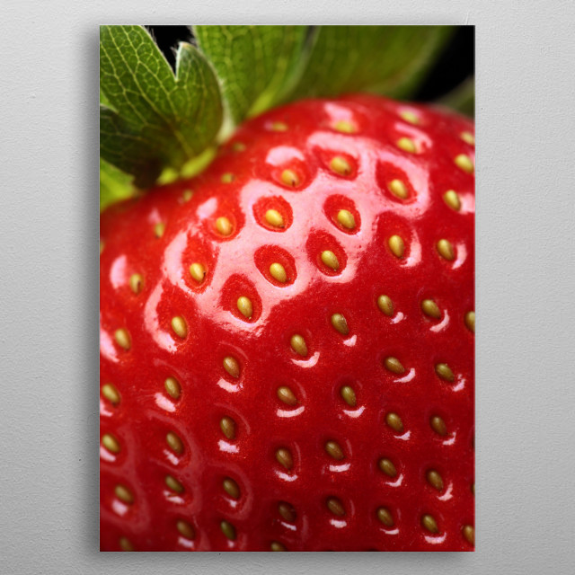 Close-up detail of a fresh red strawberry with leaves metal poster