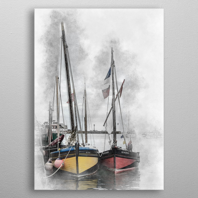 Two sailing boats in a harbour of Normandy metal poster