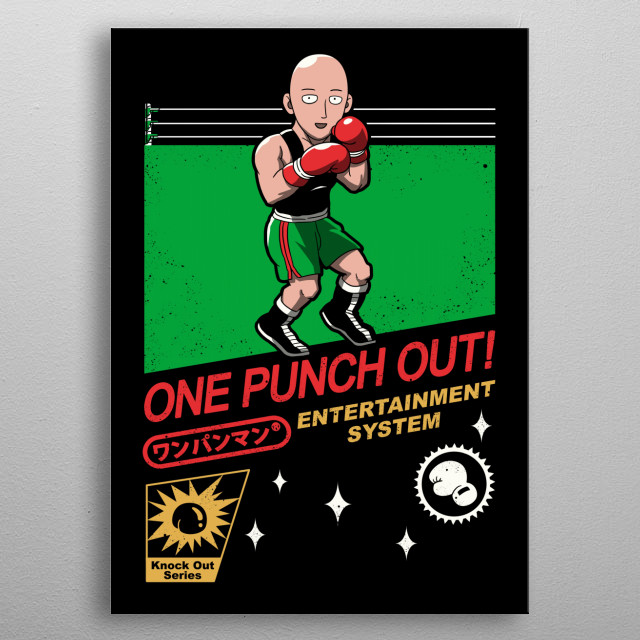 Retro Game plus Anime! One Punch Out! metal poster