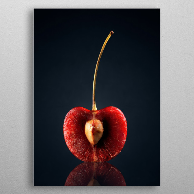 Red Cherry (halved) with reflection on dark background metal poster