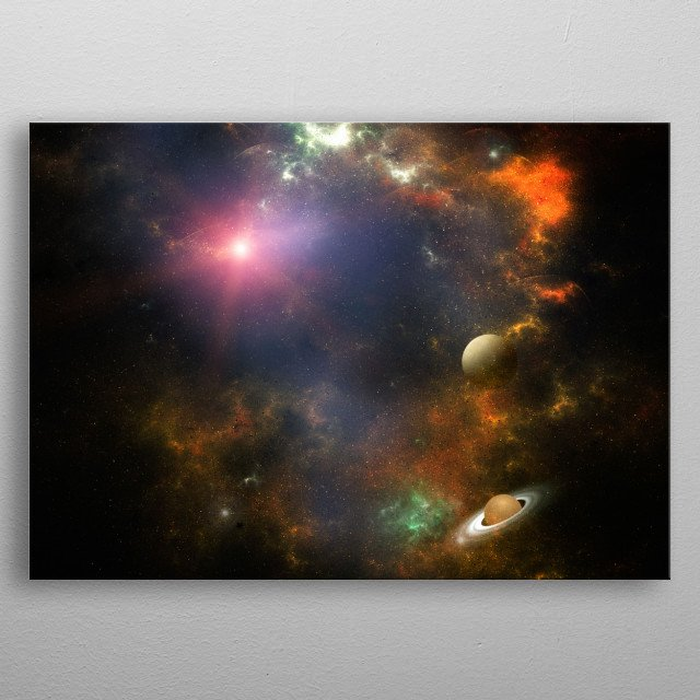 A magic view of our stunning universe. Between nebulas, planets or lights, it is a trip through space and time. metal poster
