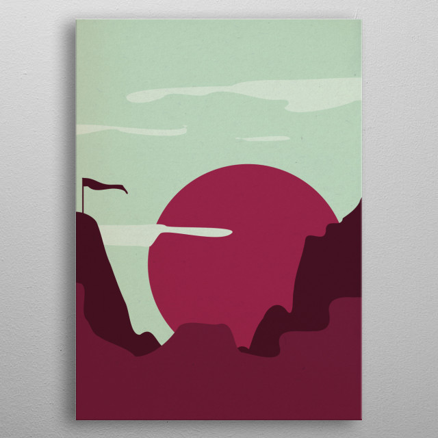 Simple graphic of red sun in mountains woth paper texture. metal poster