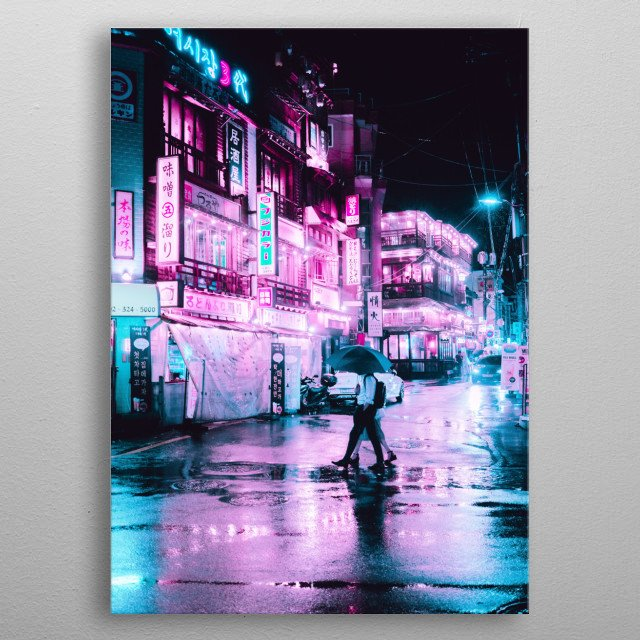 Cyberpunk and Neon themes. metal poster