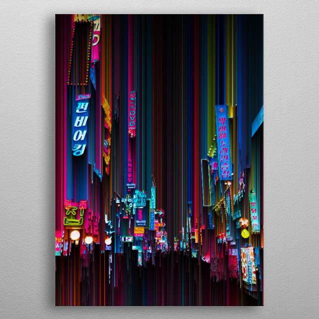 The dynamic and vibrant streets of Seoul, South Korea; edited to be melting, giving it an abstract look. metal poster