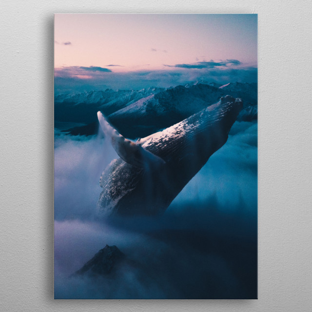 Sky whale metal poster