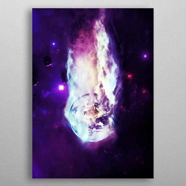 Falling Earth metal poster
