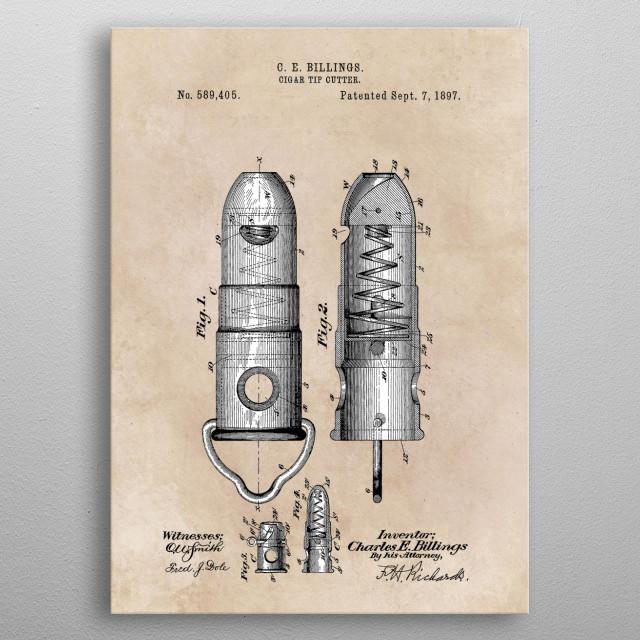 patent Billings Cigar tip cutter 1897 metal poster