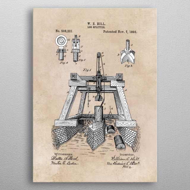 patent Hill Log Splitter 1893 metal poster