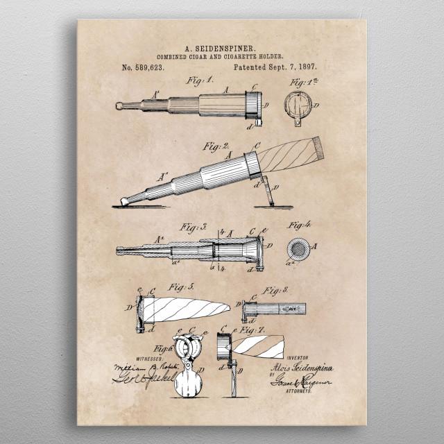 patent Seidenspiner Combined cigar and cigarette holder 1897 metal poster