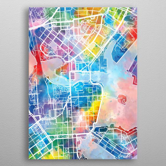 Helsinki City map inspired by watercolor,decorative,artistic,pop art design metal poster