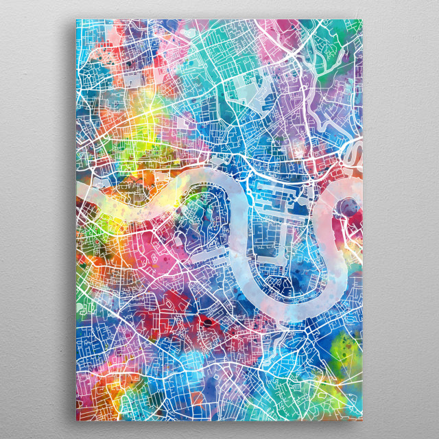 London City map inspired by watercolor,decorative,artistic,pop art design metal poster