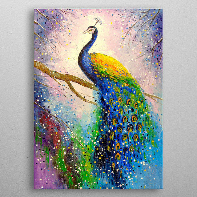 Magnificent peacock, oil painting on canvas metal poster
