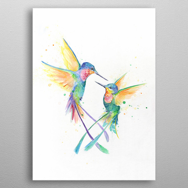 Hummingbird watercolor illustration from Marc Allante's animal A to Z series.  metal poster