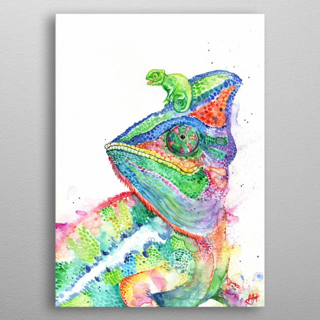 Chameleon watercolor illustration from Marc Allante's animal A to Z series.  metal poster