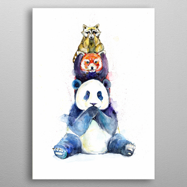 Three Wise Pandas Totem Artwork by Marc Allante metal poster