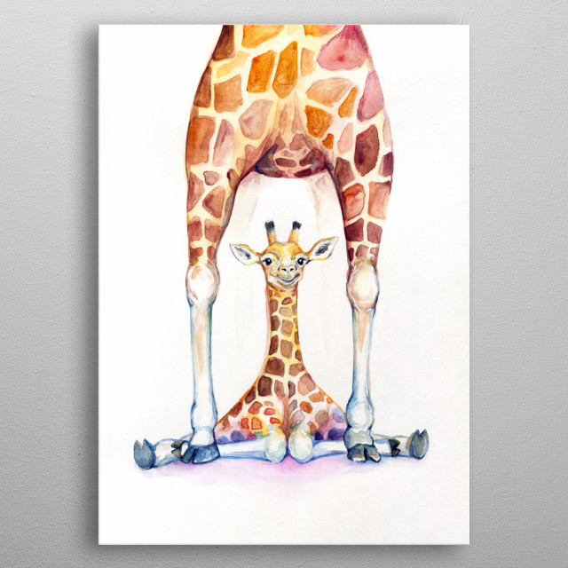 Giraffe watercolor illustration from Marc Allante's animal A to Z series.  metal poster