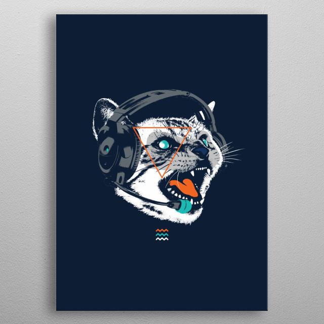 Stereo Cat metal poster