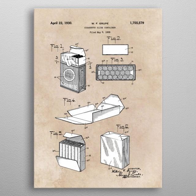 patent Grupe Cigarette slide container 1930 metal poster