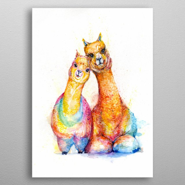 Alpaca watercolor illustration from Marc Allante's animal A to Z series.  metal poster