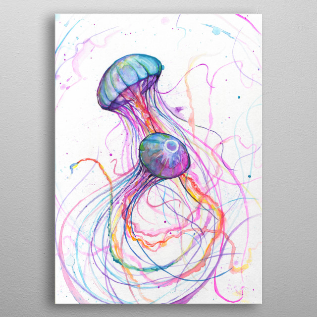Neon jellyfish watercolor painting from Marc Allante's A to Z series.  metal poster