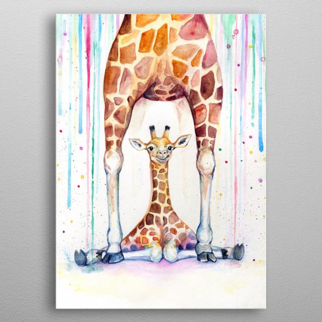 Giraffe rain watercolor illustration from Marc Allante's animal A to Z series.  metal poster