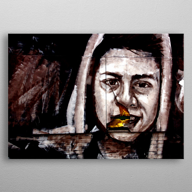 Grafitti of a boy on a wall, destructed in just the right way, metal poster