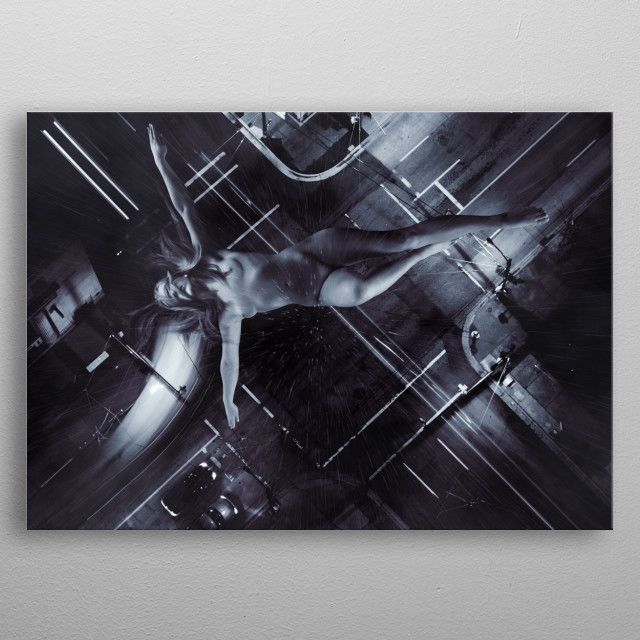falling woman metal poster