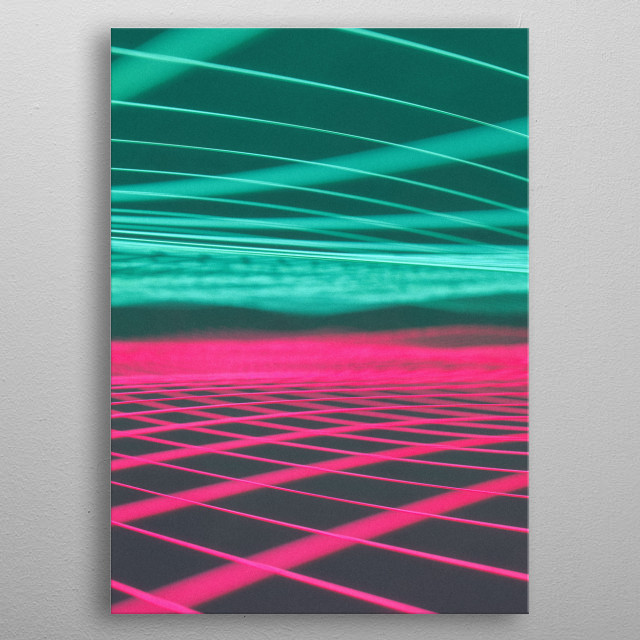 Green and pink grids blurred together.  Rendered in Cinema4D and enhanced in Photoshop, I hope you like it :)  metal poster