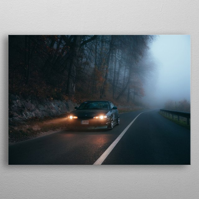 Nissan S14 JDM in the misty morning metal poster